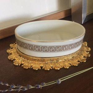 MIDCENTURY Gold Greek Ornate Soap Dish Jewelry
